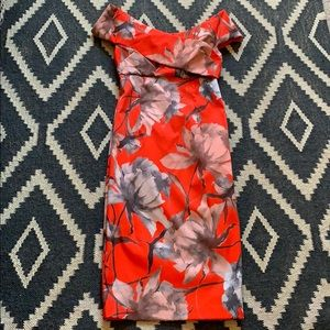 ASOS Japanese Inspired Red Floral Pencil Dress